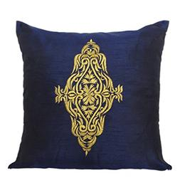 Damask Embroidery Pillow Cover - Dark Blue Gold Decorative P