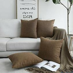 HOME BRILLIANT Decor Burlap Lined Linen Square Throw Pillowc