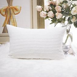 HOME BRILLIANT Decor Decorative Striped Corduroy Solid Cushi