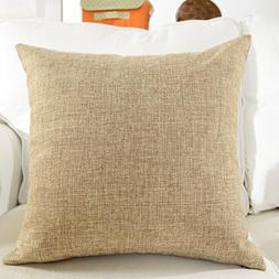 HOME BRILLIANT Spring Decor Lined Linen Burlap Square Throw