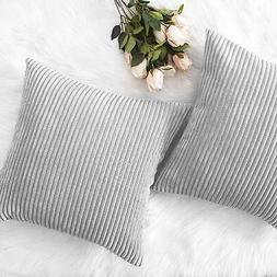 HOME BRILLIANT Decor Throw Pillows Striped Vel Set of 2, Lig