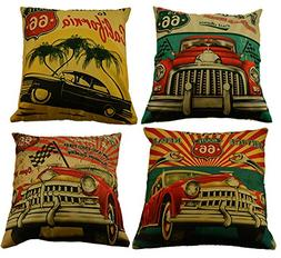 MHB Decorative 66 Gasoline Retro Classic Cars Cotton Linen T