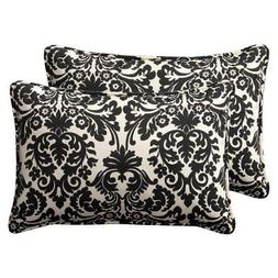 Pillow Perfect Decorative Black/Beige Damask Toss Pillow Rec
