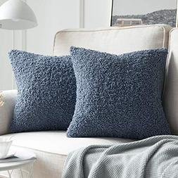 MIULEE Pack of 2 Decorative Blue Faux Fur Throw Pillow Cover