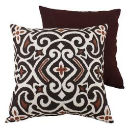 Pillow Perfect Decorative Brown and Beige Damask Square Toss