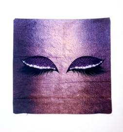 Decorative Charming Eyes Purple Throw Pillow Cover 16x16 Mic