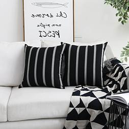 HOME BRILLIANT Classic Black White Stripes Lace Throw Pillow