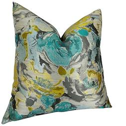 Thomas Collection Decorative Floral Throw Pillow, Teal Blue