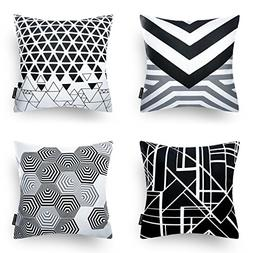 Phantoscope Set of 4 Black Geometric 100% Cotton Throw Pillo