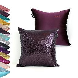 AMAZLINEN Decorative Glitzy Sequin & Comfy Satin Knit Pillow