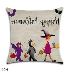Decorative Happy Halloween Throw Pillow Cushion Cover Case H