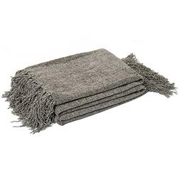 DOZZZ Chenille Couch Throw with Decorative Fringe Lightweigh