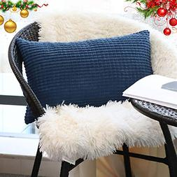 Decorative Lumbar Throw Pillow Covers Solid Cozy Corduroy Co