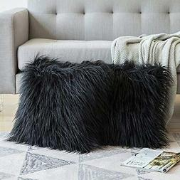 MIULEE Pack of 2 Decorative New Luxury Series Style Black Fa