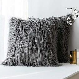 MIULEE Pack of 2 Decorative New Luxury Series Style Grey Fau