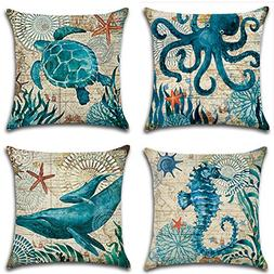 SYH003 Decorative Ocean Park Theme Cotton Linen Throw Pillow