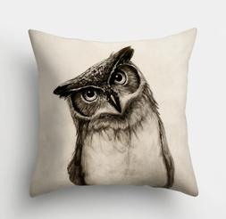 Decorative Owl Throw Pillow Cushion Cover Case 18x18 in.