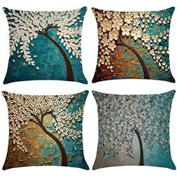 Decorative Pillow Covers Oil Painting Black Tree with White