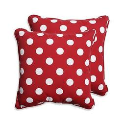 Pillow Perfect Decorative Polka Dot Toss Pillow, Square, Red