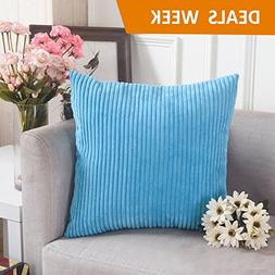 HOME BRILLIANT Decorative Soft Velvet Corduroy Striped Squar
