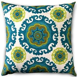 Decorative Square 18 x 18 Inch Throw Pillows Floral Green Cu