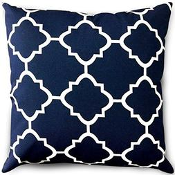 Decorative Square 18 x 18 Inch Throw Pillows Navy & White Mo