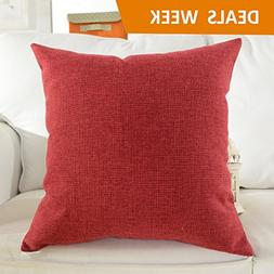 HOME BRILLIANT Decorative Supersoft Linen Square Throw Toss