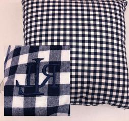 "Ralph Lauren Decorative Throw Pillow 20"" Feather Navy Blue W"