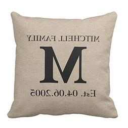 Decorative Throw Pillow Case Cushion Cover Custom Monogram P