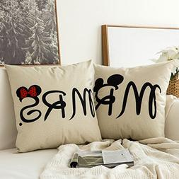 MIULEE Pack of 2, Valentine's Day Mr&Mrs Series Cotton Lin
