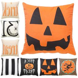 Decorative Throw Pillow Case Halloween Pumpkin Trick Or Trea