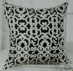 Decorative Throw Pillow Cover 18 x 18 Black White Scroll Pat