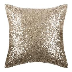 PONY DANCE Sparkling Throw Pillow - Sequin Cover Solid Cushi