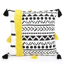 Ojia Decorative Woven Tufted Tassel Cushion Cover Fringe Sof