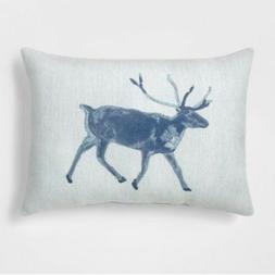 Deer Lumbar Throw Pillow Blue- Threshold
