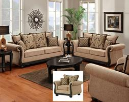 Delray Traditional Sofa LoveSeat & Chair 3pc Living Room Fur