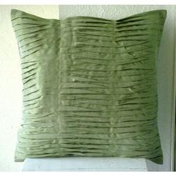 Designer Green Pillows Cover, Textured Pintucks Solid Color
