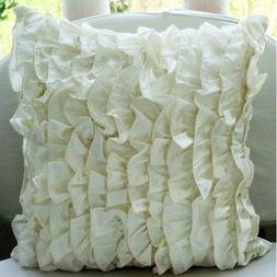 Designer Ivory Pillow Covers, Vintage Style Ruffles Shabby C