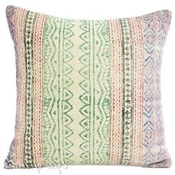 """Eyes of India - 16"""" Green Dhurrie Striped Decorative Pillow"""