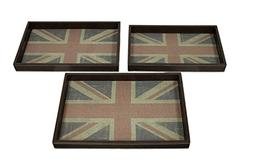 Distressed British Union Jack 3 Piece Faux Leather Decorativ
