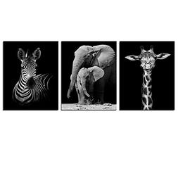 DIY Modern Black And White Canvas Wall Art,Animals Picture P