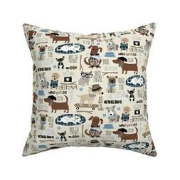 Dog Hipster Pups Puppy Cool Throw Pillow Cover w Optional In
