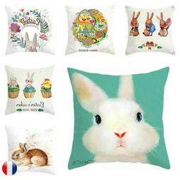 Easter Rabbit Egg Pattern Cushion Cover Throw Pillow Case Ho