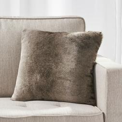 """Ellison Modern Glam Striped Faux Fur 18"""" Throw Pillow with P"""