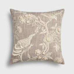 Embroidered Bird Square Throw Pillow Natural - Threshold