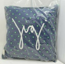"""Embroidered """"JOY"""" Novelty Throw Pillow in Navy By ED Ellen D"""