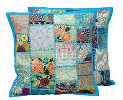 """2pc Embroidered Sari Patchwork Cushion Cover , 17x17"""" Indian"""