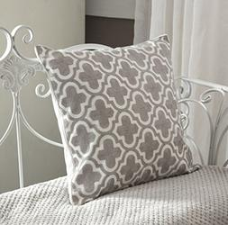 BEST DREAMCITY Canvas Cushion Covers Embroidered with Grey Q