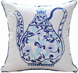 Hodeco Embroidery Throw Pillow Cover 18x18 Inches Decorative