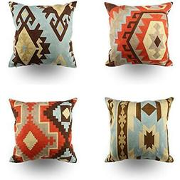 Embroidery Throw Pillow Covers 18x18 Inches Indian Decorativ